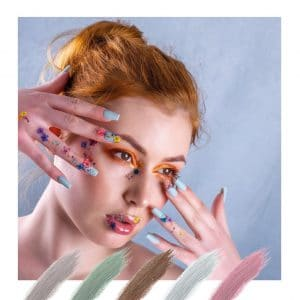 © Catherine Nail Collection Boho Glam - bunte Blüten-Dekors auf pudrig zarten Trend-Colours