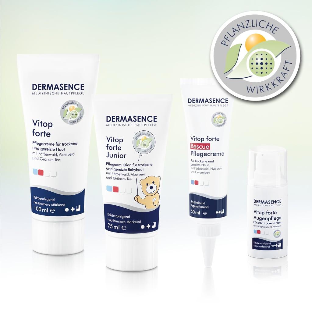 © DERMASENCE Vitop forte mit hautsanfter galenischer Formulierung bei Neurodermitis und Pollenallergien